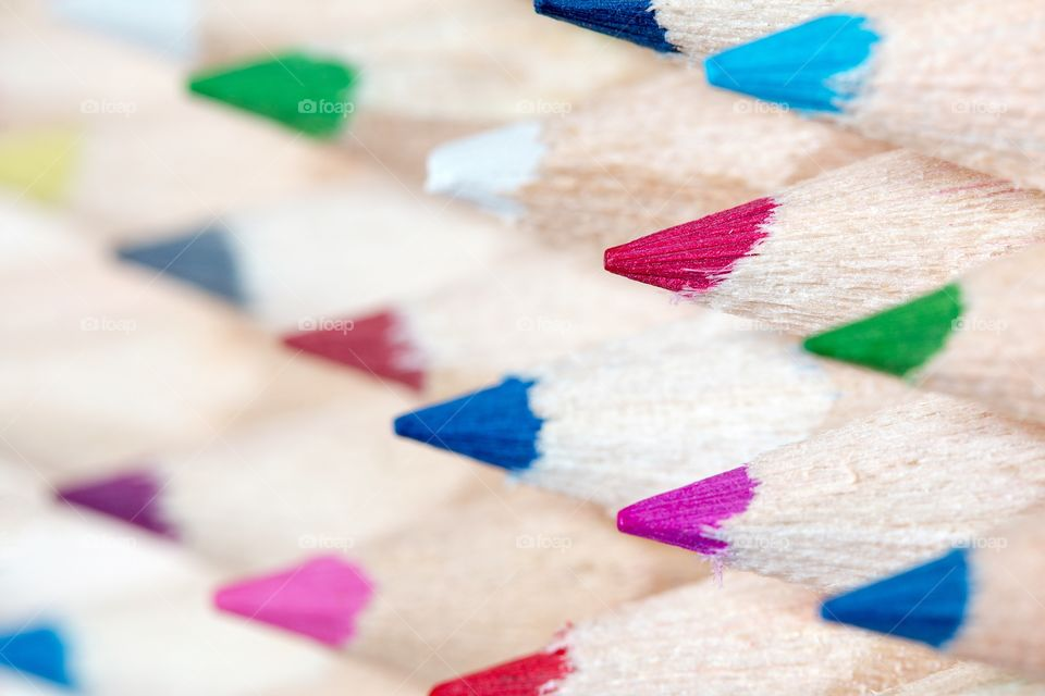 Closeup of colourful tips of pencils