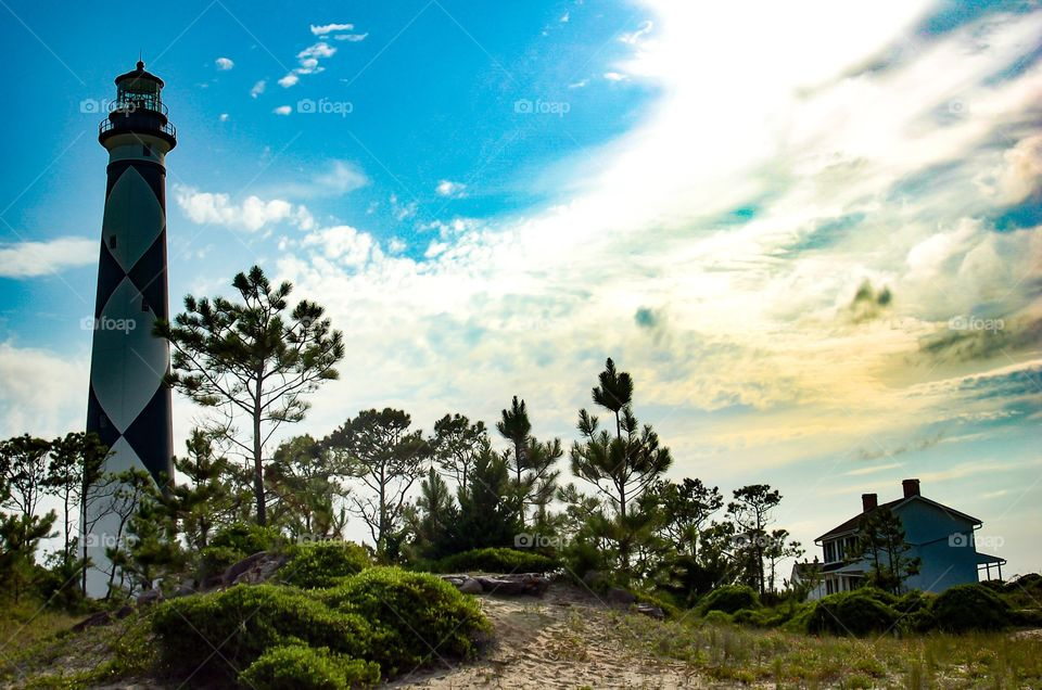 Lighthouse at cape lookout, outer banks North Carolina.