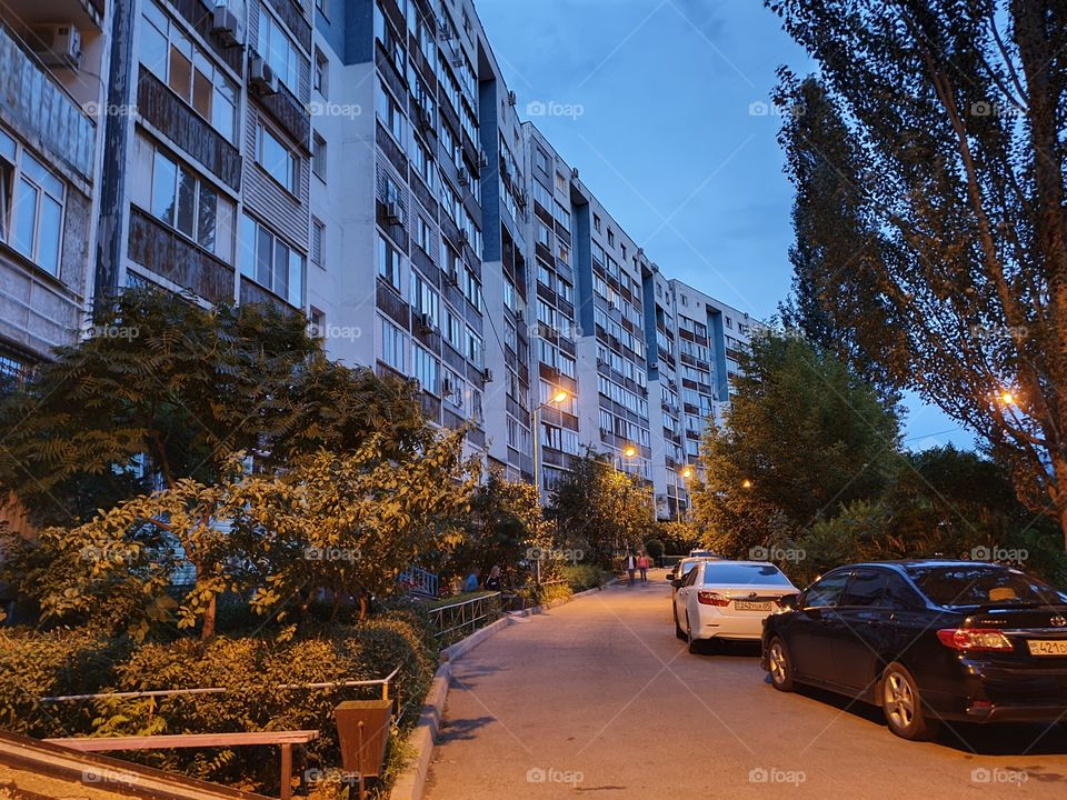 blue hour in the residential area