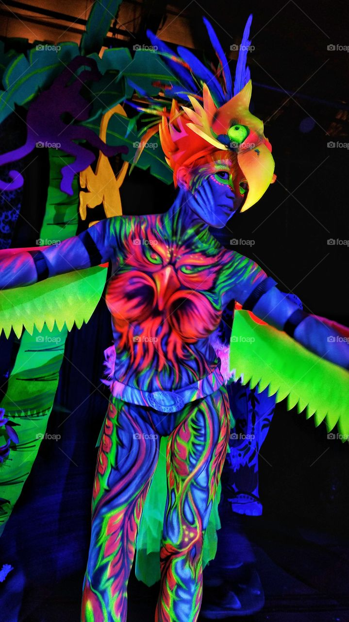 Ready for flight. 1st place winner of the Human Zoo body paint contest in Atlanta