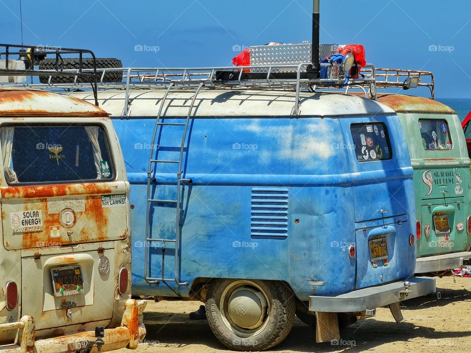 Old Volkswagen Minibuses. Beat Up Old VW Buses On The Coast Of California