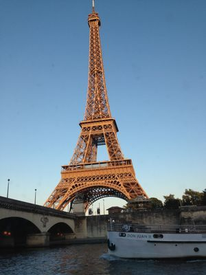 A view of the Eiffel Tower from the Seine. Paris, France.