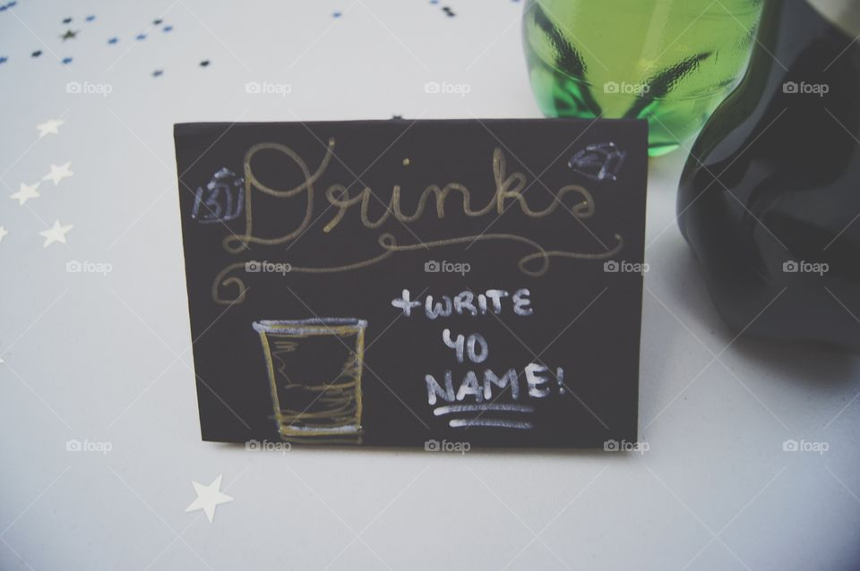 Drinks sign at the party