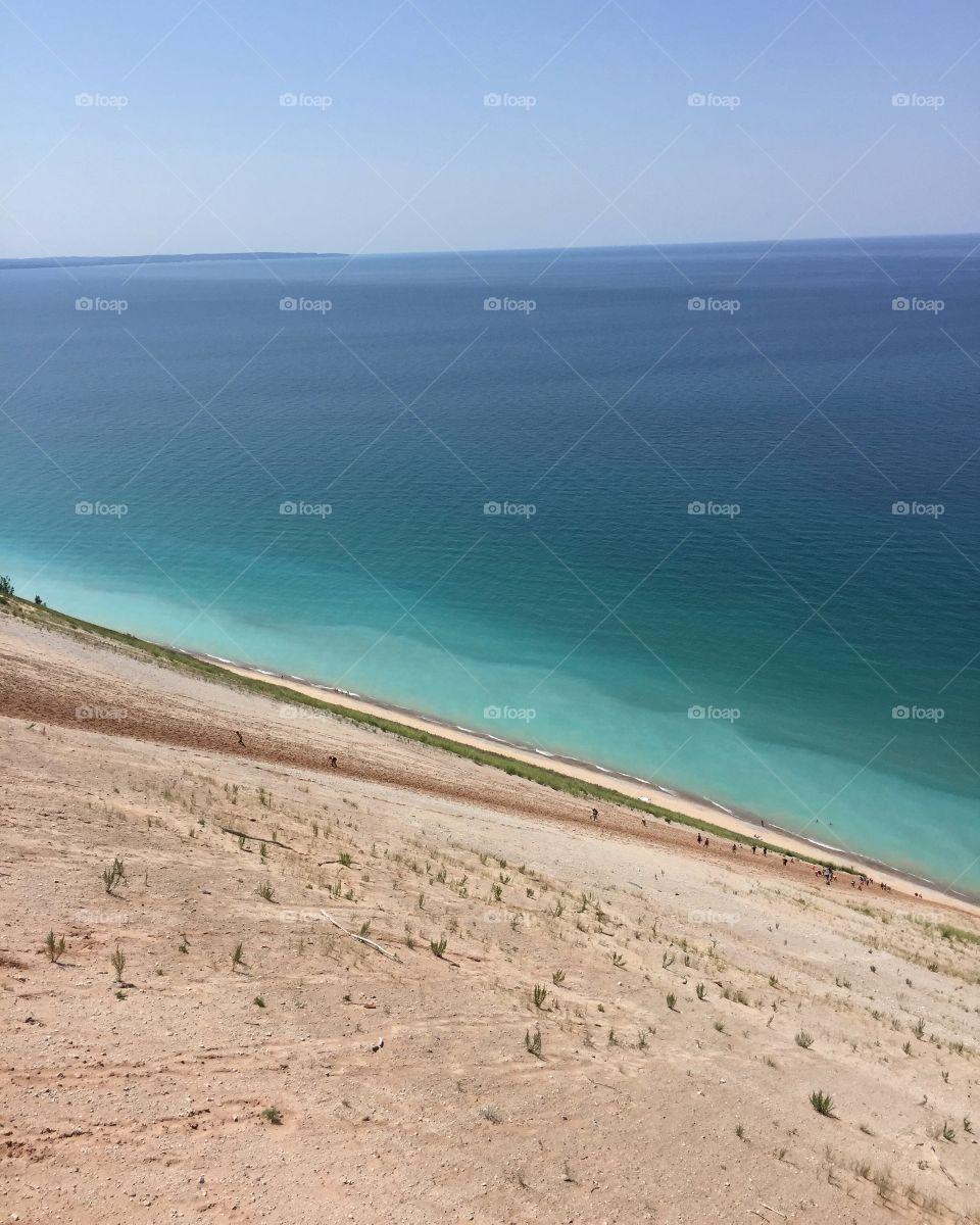 Sleeping bear dunes and the beautiful water in Michigan!