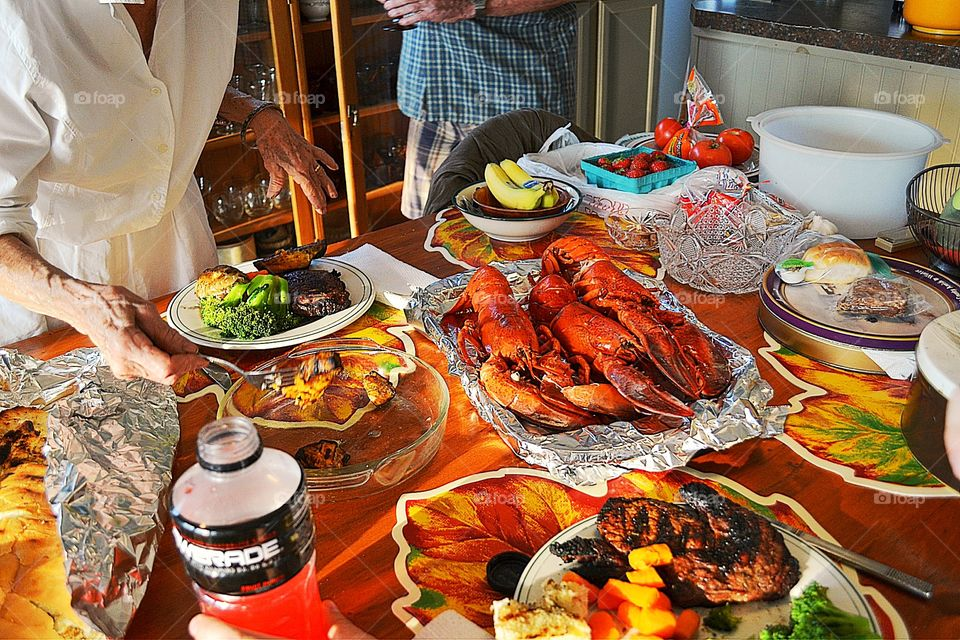 Lobster dinner with friends. Lobster dinner and bbq with friends