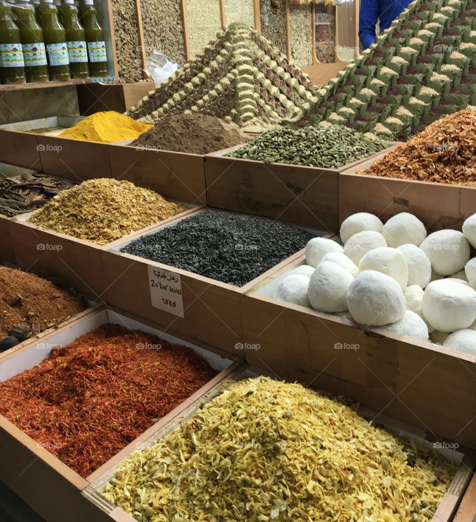 Aromatic and colorful spices in the Muslim Quarter of Old City Jerusalem, Israel.