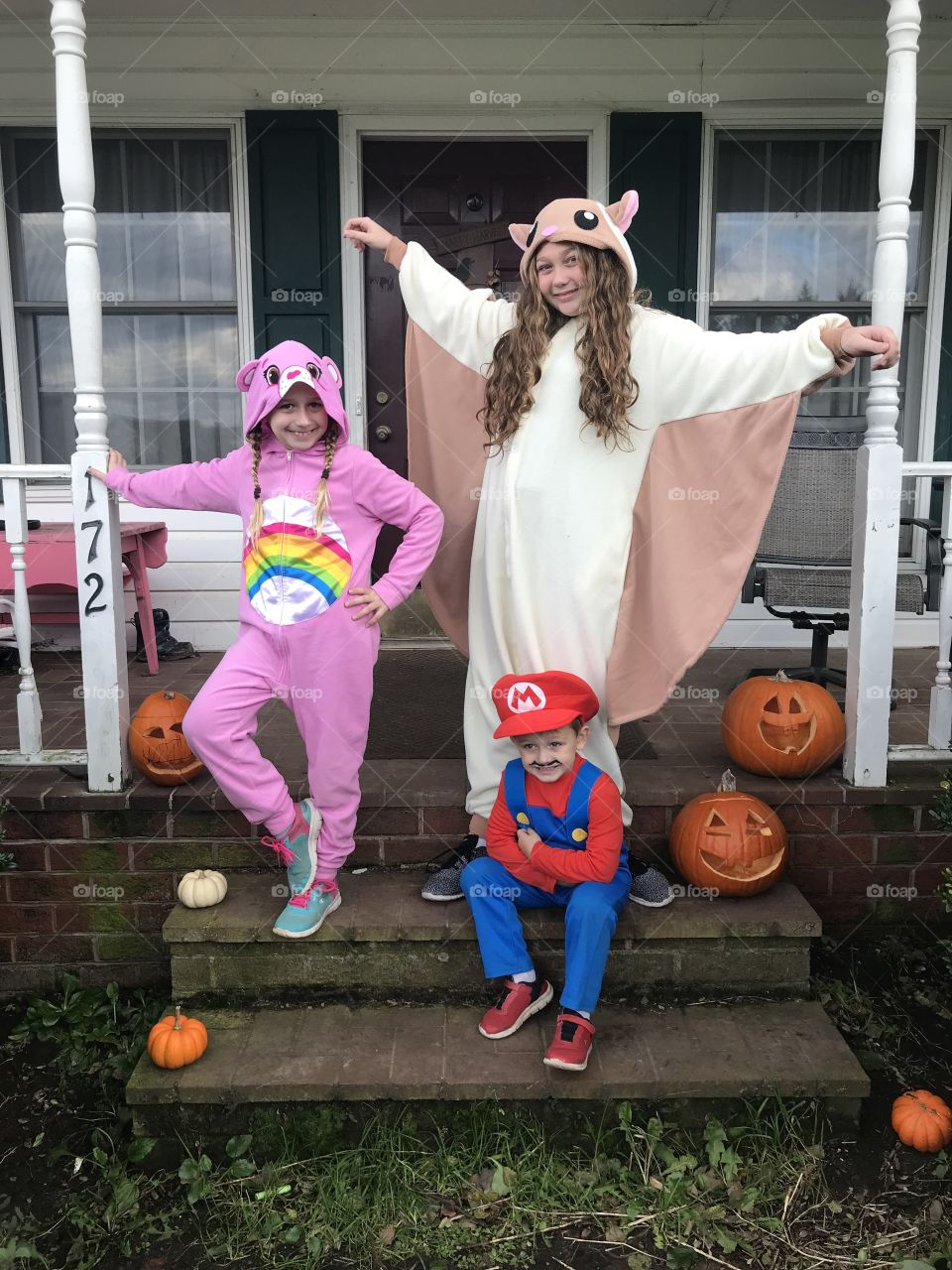 Halloween is a wonderful time to be anything you want to be! Carebear, flying squirrel, and Mario. Trick or Treat!