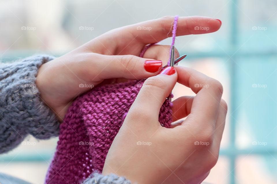 Close-up of hand knitting