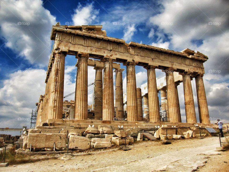 View of parthenon in Athens