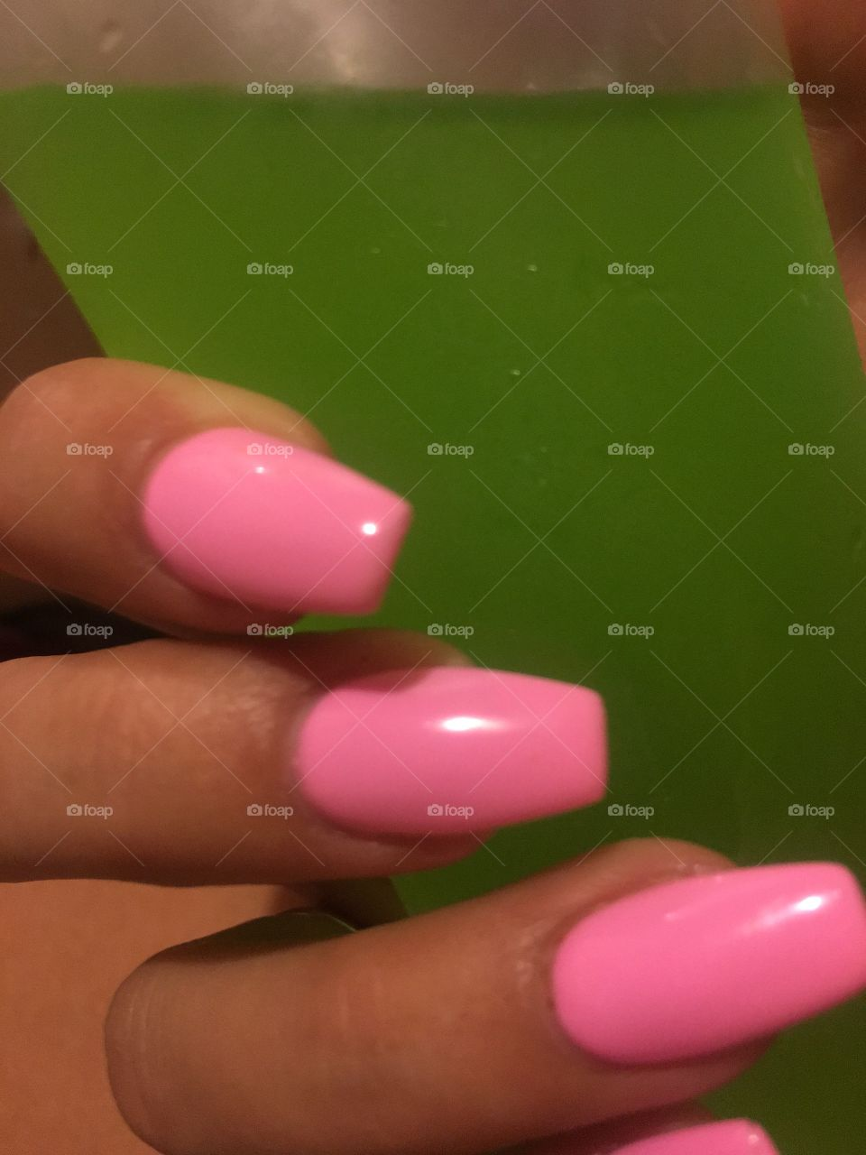 Summer Nails with a green exotic drink.