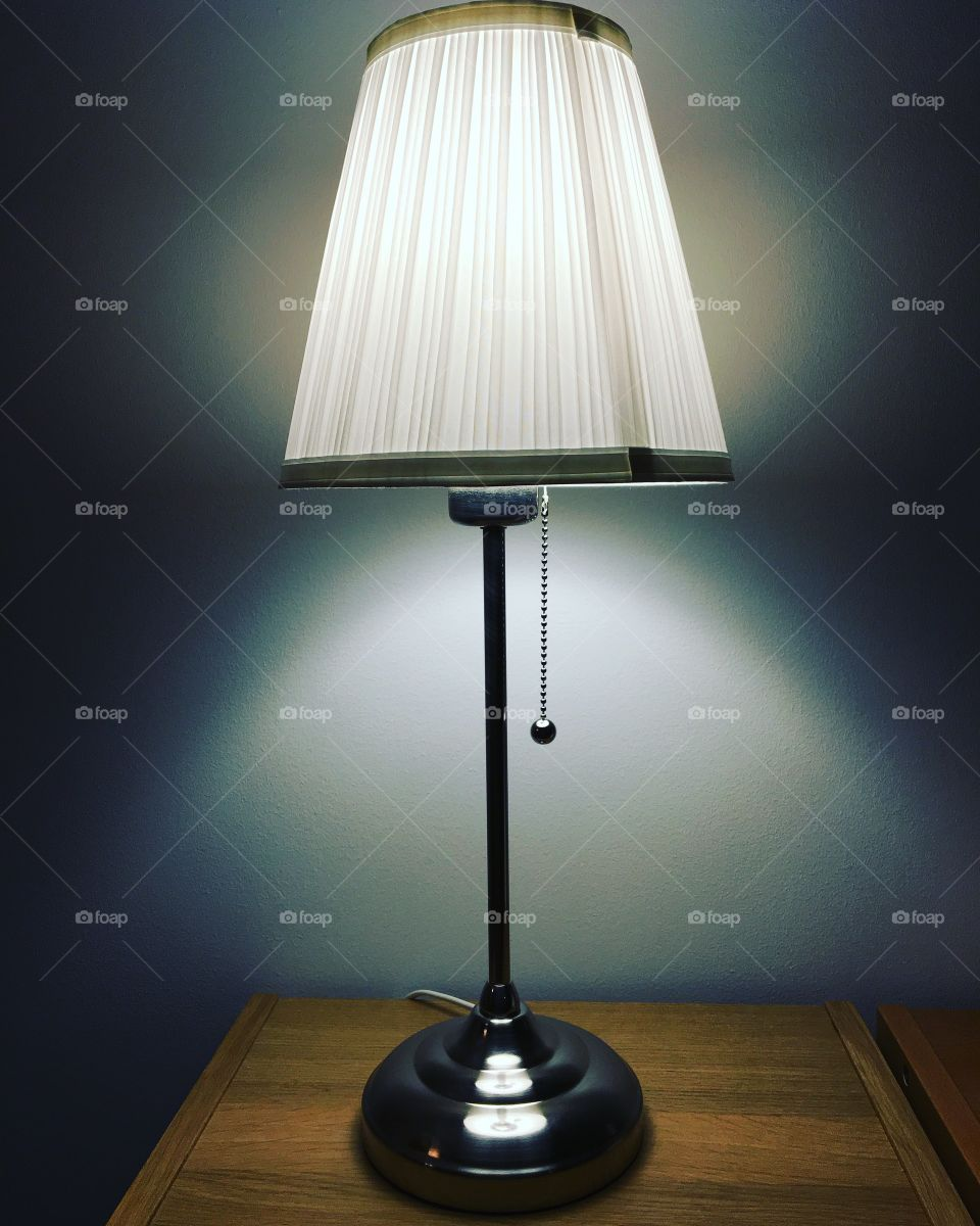 White lamp with silver bluegray background